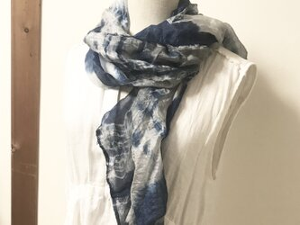本藍染×墨染め 絹 ティアードマフラーの画像