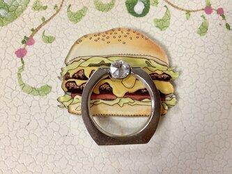 スワロフスキー付スマホリング ハンバーガーの画像