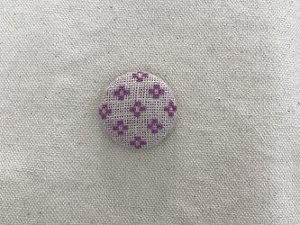 こぎん刺しのマグネット〈花十字の応用×ピンク色〉2.9cmの画像