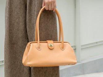 【切線派】がま口 本革手作りのレザートートバッグ 総手縫い 手持ち 肩掛け 2WAY 鞄の画像