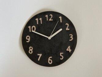 (大)陶シンプル 掛け時計 黒の画像