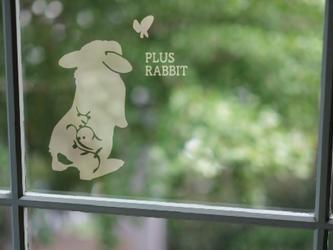<+R>RABBIT ガラス調ステッカー・蝶・たれ耳A4の画像