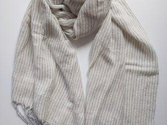 シルクコットン♪上品な手織りストライプストール 342の画像