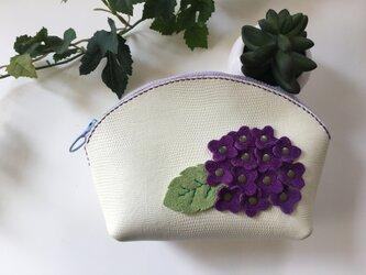 レザーシェルポーチ❤️紫陽花☆紫♫の画像