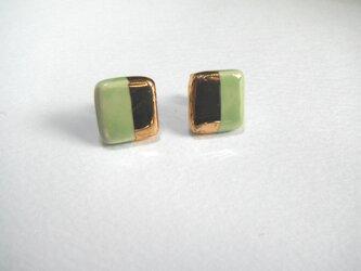 金彩square twin color ピアス /イヤリング(グリーン)の画像