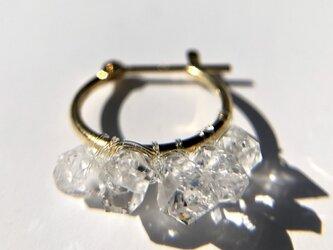 K18 ハーキマーダイヤモンド フープピアスの画像