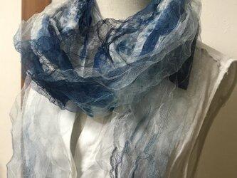 着物リメイク 本藍染 シルクチュール マフラーの画像