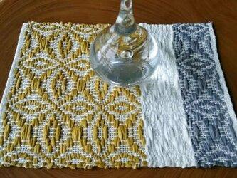 手織り〈麻のティーマット〉葉っぱ/黄色の画像