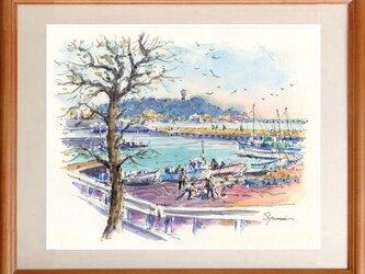 水彩画原画 江ノ電と腰越漁港2の画像
