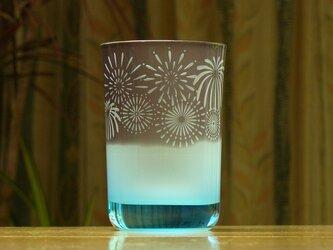 猫と花火のタンブラー 水色×青 (1個)の画像