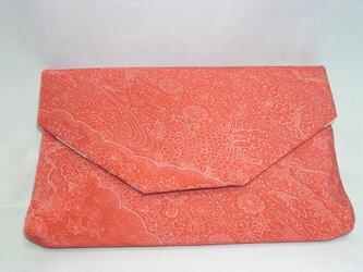 再販) 正絹 数寄屋袋 朱赤江戸小紋 クラッチバッグ ご祝儀袋も入りますの画像