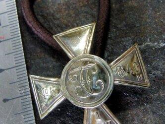 真鍮ブラス製 クロスコインNO5ヘアゴムコンチョ 髪留め・バッグ飾り・ペットの首輪飾りにもの画像