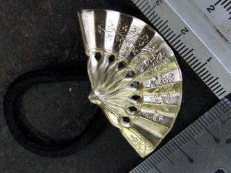 真鍮ブラス製 扇/扇子型ヘアゴムコンチョ 髪留め・バッグ飾り・ペットの首輪飾りにもの画像