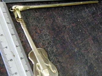 真鍮ブラス製 ギターデザイン簪/かんざし 着物や浴衣の髪飾りや帯飾り根付・ペンダントトップにの画像