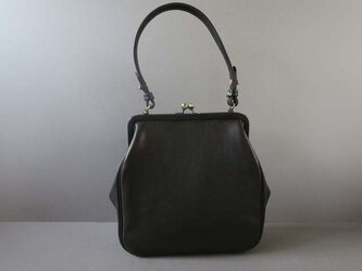 plain gama hand bag -square (black)の画像