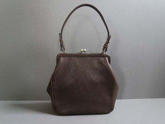 plain gama hand bag -square (dark brown)の画像