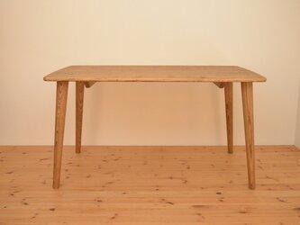 ※受注製作※オーク材よりも軽い!優しい形のアンティーク風マロンブラウン(クリ)材の総無垢ダイニングテーブル※(サイズオーダー可)の画像