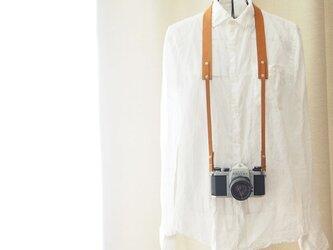 シンプル本革カメラストラップ 一眼レフ・ミラーレス用 キャメル【受注生産】の画像