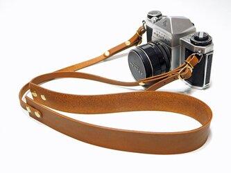 シンプル本革カメラストラップ 一眼レフ・ミラーレス用 キャメル系ブラウン【受注生産】の画像