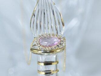 ピンクサファイア非加熱/ダイヤモンド/k18YGネックレスの画像