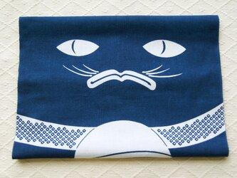 天然藍の型染め手拭い 鈴猫の画像