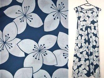 sold Out浴衣リメイク♪クレマチスが可愛い浴衣チュニックワンピース♪ハンドメイド♪花柄・藍染め・浴衣・浴衣ワンピース・の画像