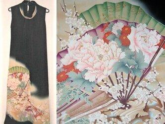 留袖リメイク♪扇に牡丹が素敵なアンティーク留袖ワンピース♪ボレロ付き♪ハンドメイドの画像