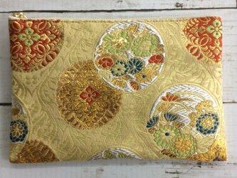 京都・西陣織・金襴の生地で仕立てた和柄のポーチ 20cmファスナー     Lサイズの画像
