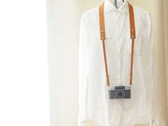 シンプル本革カメラストラップ コンパクトカメラ・デジカメ用の金具付き キャメル【受注生産】の画像