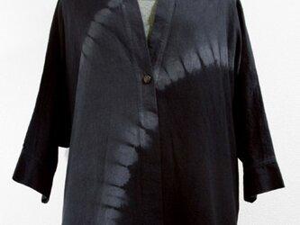 作務衣風・コットンアウター(斜め絞り染・青味グレー濃淡)の画像