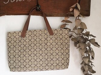 bag[手織りオーバーショット織 横長手提げバッグ]イエローベージュの画像