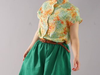 【wafu】リバティリネンシャツ スタンドカラー 花柄シャツ チュニック/メアリージーン【Mサイズ】t032c-mjy1の画像