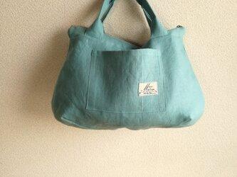Linen・リネン・手提げファスナーBAG ・ターコイズブルーパステル調の画像