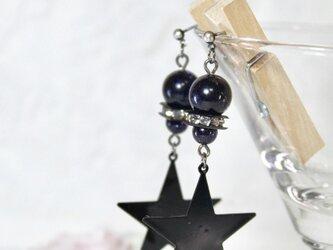 【1点のみ】ブルーサンドと星の夜空のピアス〔191-1〕の画像