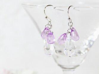【1点のみ】紫とクリアのしずくピアス〔194-1〕の画像