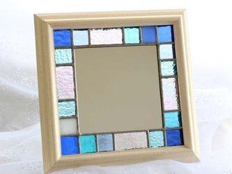 ステンドグラスの小さなフレーム・ミラー/Summer Blueの画像