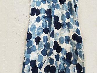 【受注製作】淡いカラー ワンピース ゆったり ロング 花柄 青 SW721の画像