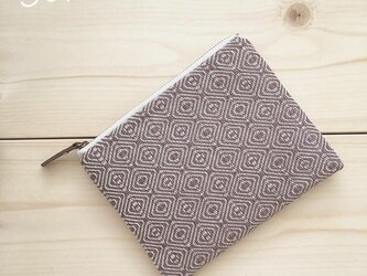 pouch[手織り小さめポーチ]あずき×ホワイトファスナーの画像