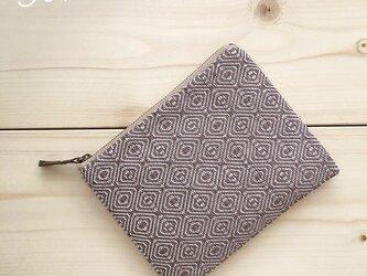 pouch[手織り小さめポーチ]あずき×ベージュファスナーの画像