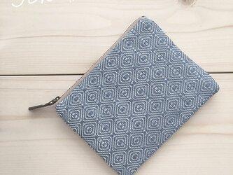 再販pouch[手織り小さめポーチ]薄ブルー×ベージュファスナーの画像