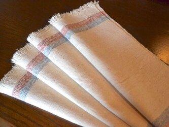 手紡ぎ手織りオーガニック・ヘンプコットン布巾3-1 4枚セットの画像