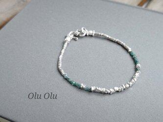 ブルーグリーンダイヤモンド&カレンシルバーのブレスレットの画像