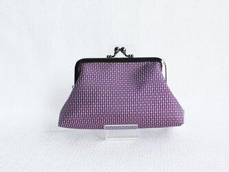 着物リメイクがまぐち 《しかく》 大島紬・紫の画像
