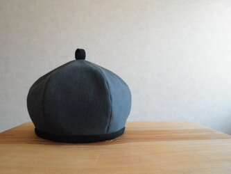 コットンリネンのベレー帽 チャコールグレー、黒の画像