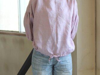 リネン裾ギャザープルオーバー リトアニアリネン100%の画像