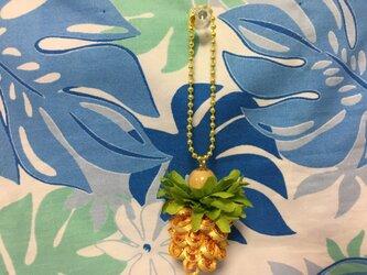 ハワイアンリボンレイ【パイナップルチャーム イエローゴールドXイエローゴールド】完成品の画像