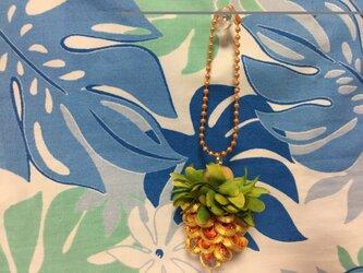ハワイアンリボンレイ【パイナップルチャーム イエローゴールドXオレンジ】完成品の画像