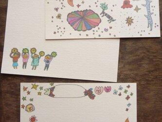 ポストカード いろいろmix(宇宙散歩・ありがと・メデタイ)の画像