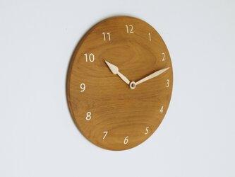 木製 掛け時計 丸 チーク材16の画像