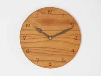 木製 掛け時計 丸 ケヤキ材40の画像